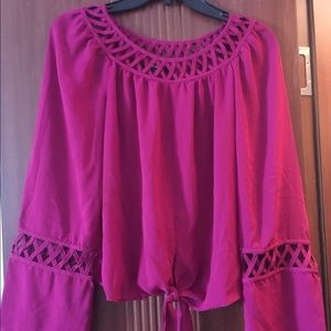 Raspberry color detailed collar and sleeve top